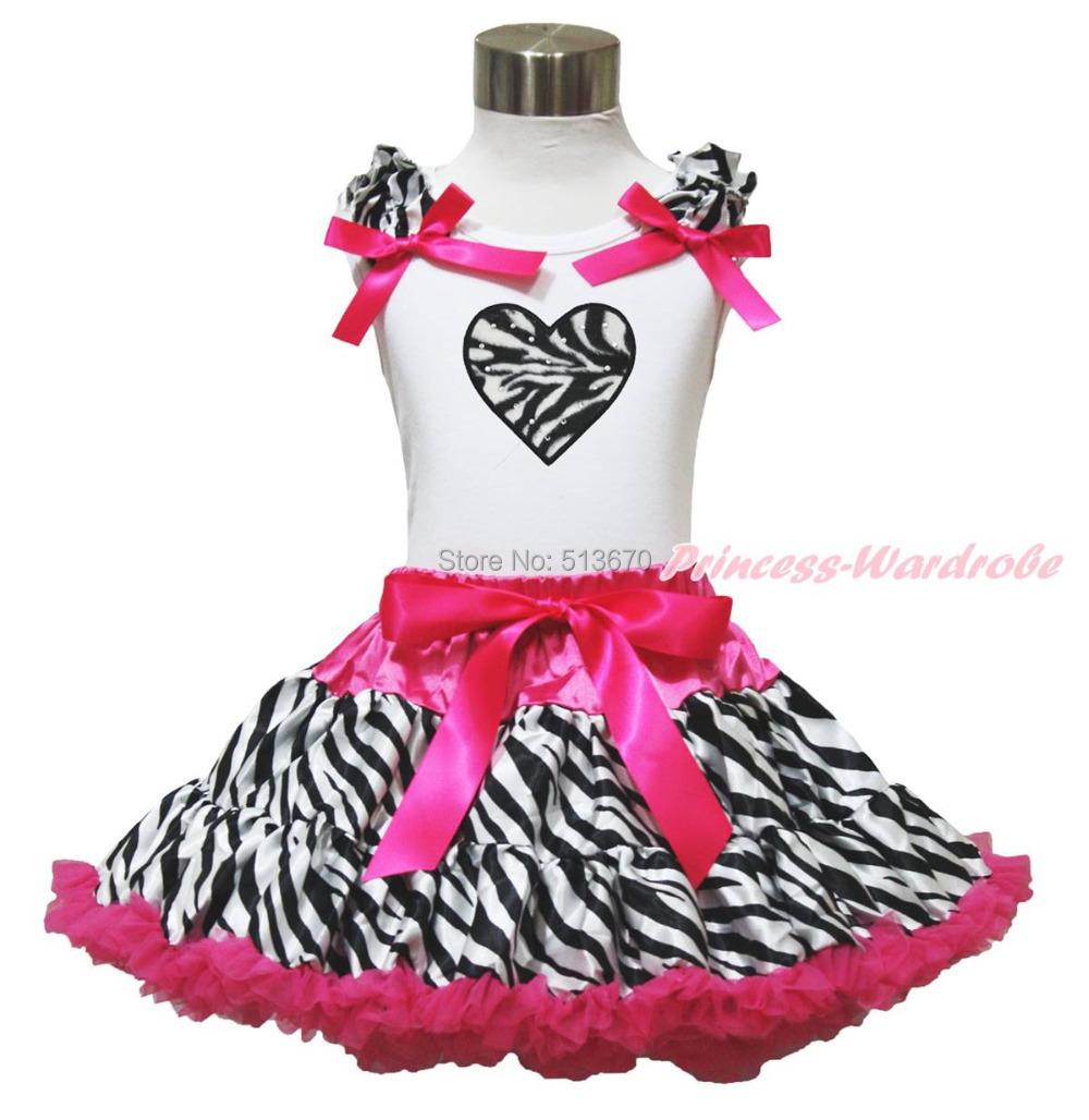 Valentine White Top Hot Pink Zebra Heart Pettiskirt Baby Girl Cloth Outfit 1-8Y MAPSA0598 valentine xmas zebra heart white tank top zebra red black plaid girl skirt 1 8y mapsa0212