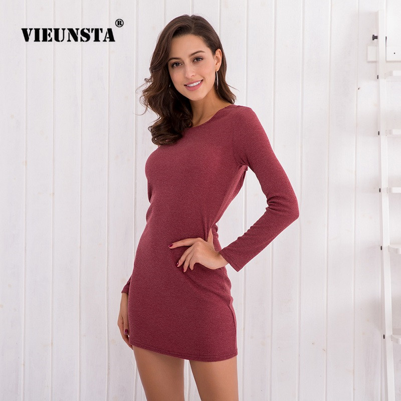 VIEUNSTA Sexy Cross Bandage Backless Mini Dress 2018 Women Long Sleeve Knitted Sweater Dresses Spring O Neck Slim Bodycon Dress