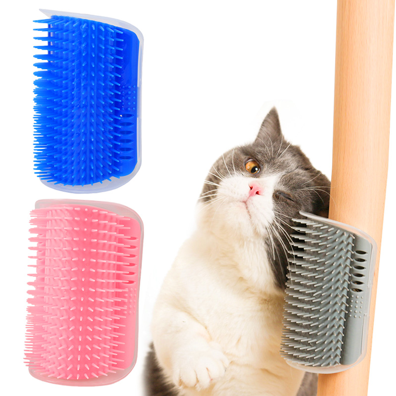 Corner Cat Self Grooming Brush Fixed in Wall for Pet Cat to Self Combing Massaging and Scratching