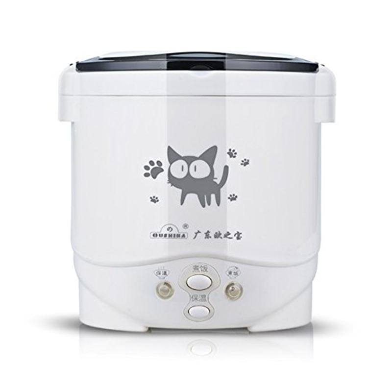 Lovely Cat Car Use Electric Heating Lunch Box Mini Travel Rice Cooker Portable ,1L Meal Heater Food Warmer 150W (Black Cat) rice cooker parts paul heating plate 900w thick aluminum heating plate