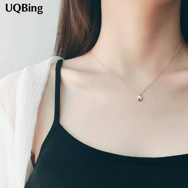 925 Sterling Silver Necklaces Rose Gold Beans Lucky Pendant Necklace Jewelry Collar Colar de Plata