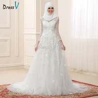 Dressv Muslim Wedding Dresses Lace Long Sleeves High Neck Arabic Bridal Gowns Applique Elegant Islamic Bride Dress For Dubai