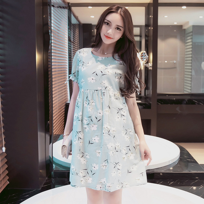 2018 Summer New Ruffle Sleeve Round Collar Short Sleeve Sweet Flower Printed Maternity Nursing Dress Clothes for Daily and Party