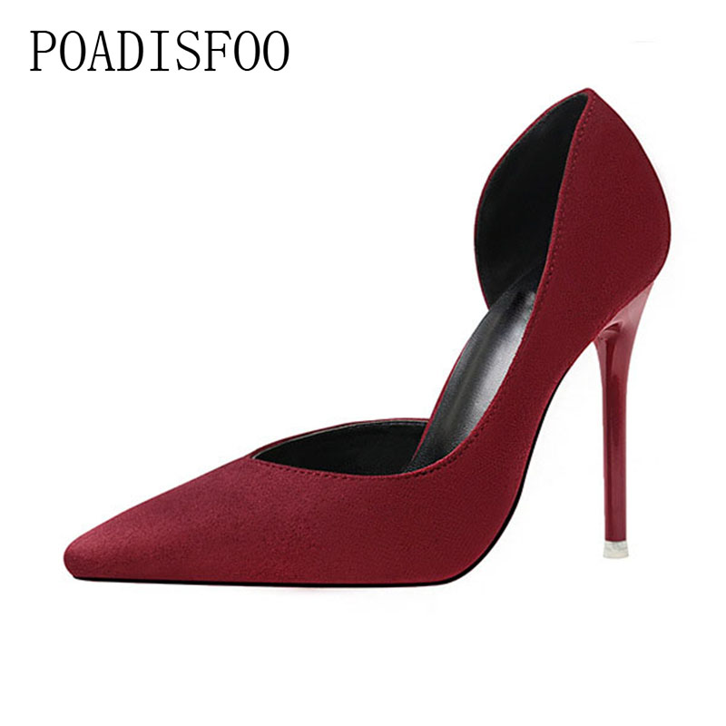 POADISFOO 2018 women pumps Fashion Simple Thin With High Heel Suede Shallow Pointed Pointed Side Sexy Hollow Shoes .ZWM-8915-3 lakeshi new fashion pumps thin sexy high heeled shoes woman pointed suede hollow out bowknot sweet elegant women shoes