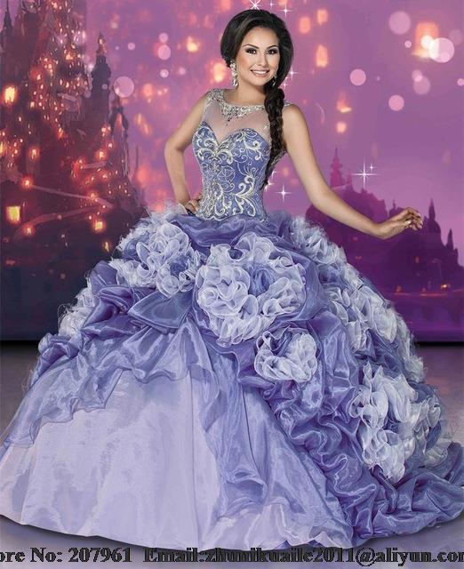 2016 Princesa Bordado Cristais Ball Vestido Quinceanera Vestidos de Organza Colher do Assoalho-Comprimento Vestidos De 15 Años Sweet 16 Vestidos