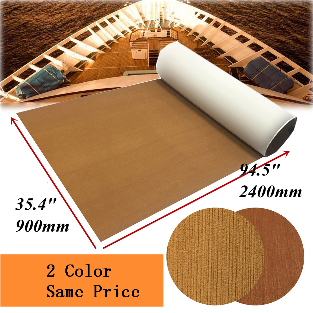 Self Adhesive Teak Decking Sheet For Boat RV Yacht EVA Synthetic Marine Flooring Mat Carpet 90x240cm/35.4X94.5 Boats Accessories image