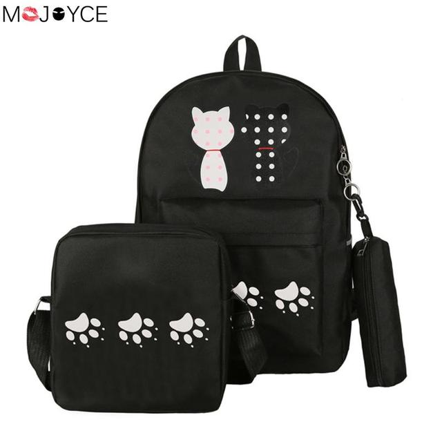 d1fa26196b Cartoon Kawaii Cat Printing Backpack Set Canvas Middle High School Bag  Travel Women With