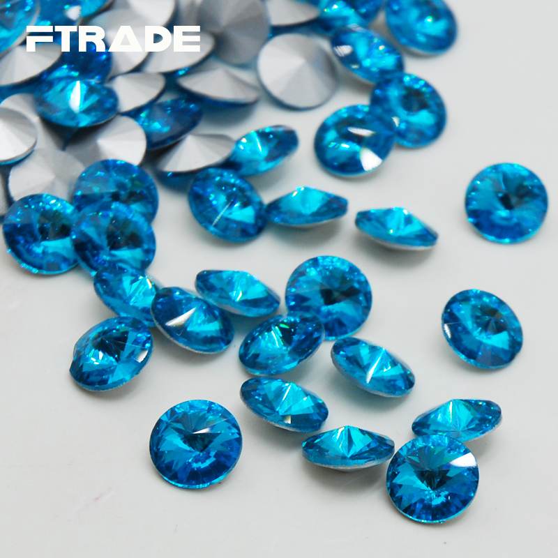 Hot Sale Rivoli Point Back Glass Crystal Aquamarine Color 6 Sizes 8mm,10mm,12mm,14mm,16mm,18mm For Jewelry Making