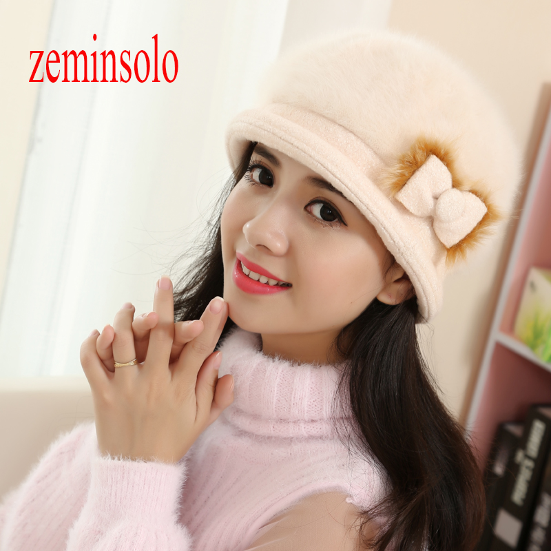 New Fashion Winter Rabbit Fur Bow Hat For Women Beanie Women's Hats Plus Size Hat Cap Skullies Beanies Knitted Woolen Warm Caps princess hat skullies new winter warm hat wool leather hat rabbit hair hat fashion cap fpc018