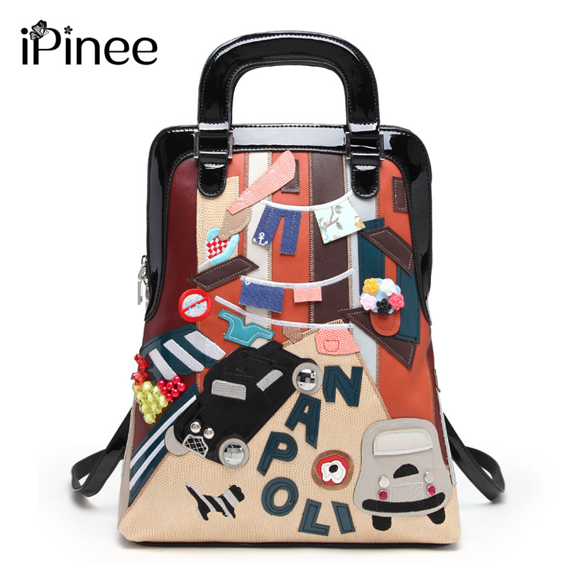 iPinee Multifunction Casual Women Bags Cartoon Design Leather Printing Shoulder Messenger Bags School Bag For Girls