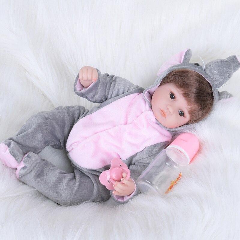 43cm Full Silicone Reborn Girl Baby Doll Toys Like Real Newborn Princess Babies Doll Birthday Gift Girls Bonecas Bathe Toy