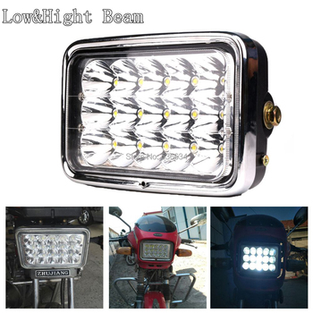 45W High/Low Beam 4x6inch LED Rectangular Headlight with Black Headlamp Housing for Motorcycle GS125 CG125
