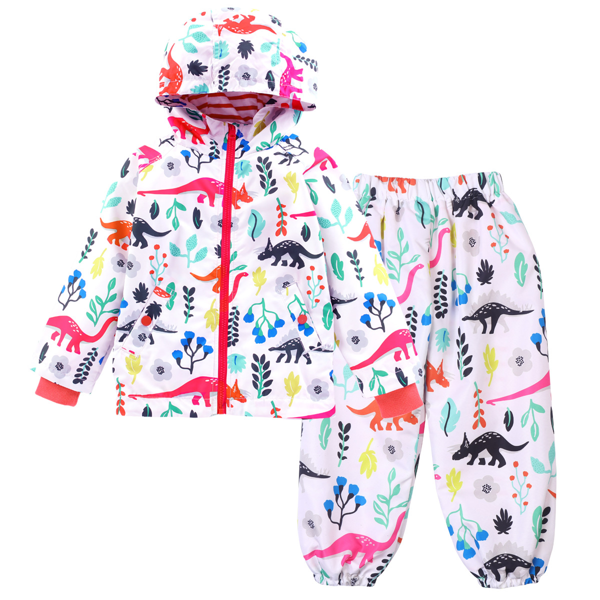 Kids Cartoon Clothes Suits Dinosaur Hooded Jacket + Casual Pants Two Pieces Boys Girls Sets Spring Autumn Rain Coat Tracksuits benkia motorcycle rain coat hooded raincoat two piece raincoat suit riding rain gear motorcycle bicycle rain jacket and pants