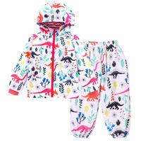 Kids Cartoon Clothes Suits Dinosaur Hooded Jacket + Casual Pants Two Pieces Boys Girls Sets Spring Autumn Rain Coat Tracksuits
