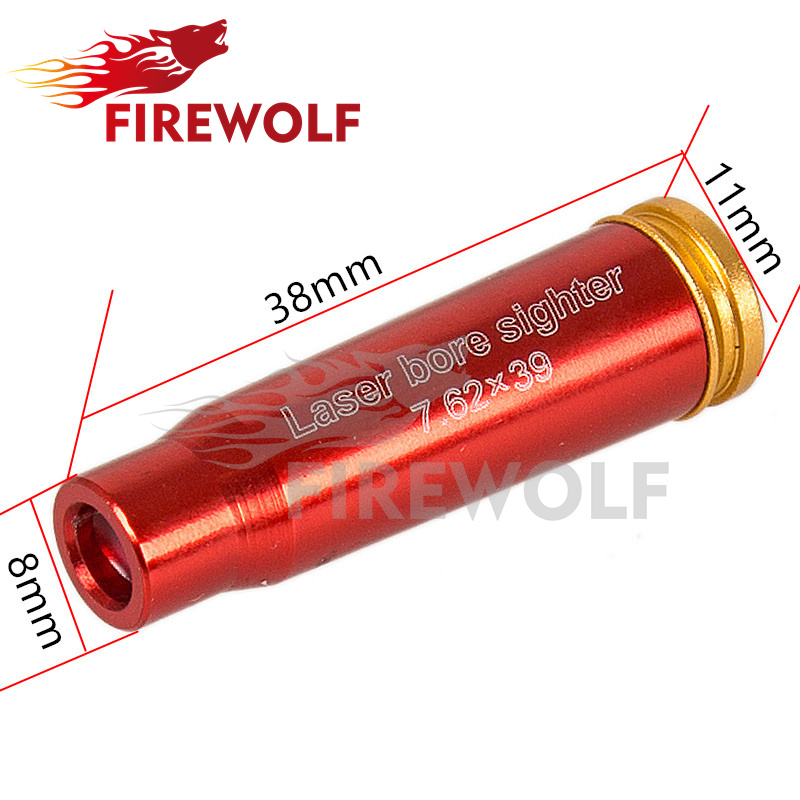 FIRE WOLF Red Laser Sight Bore Sighter 7.62x39 Cartridge Scopes Boresighter Hunting Optics