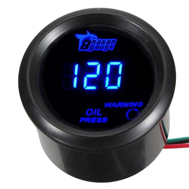 """EE apoio 2 """"52mm Preto Motor Do Carro Medidor de Pressão Medidor de LED Azul Digital LED Oil Press XY01"""