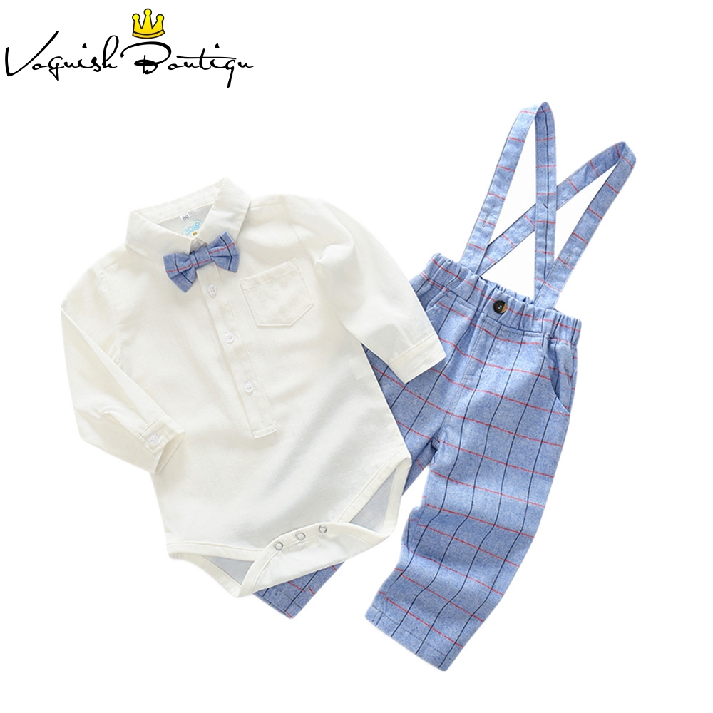 Bebes clothes long sleeved jumpsuit with bow and plaid overalls cotton newborn baby clothes casual baby clothing set plaid tailored jumpsuit