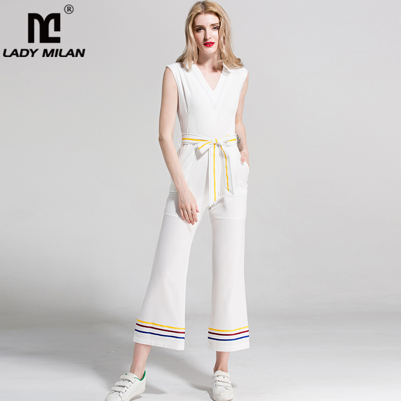 New Arrival 2018 Womens Sexy V Neck Sleeveless Sash Bow Belt Side Pockets Fashion Casual Summer Jumpsuits