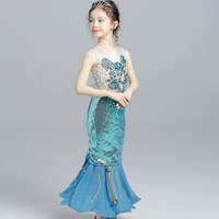 Mermaid Ariel Fancy Costume Dress Girls Sequin Princess Birthday Party Cosplay Clothes Mermaid girl dress