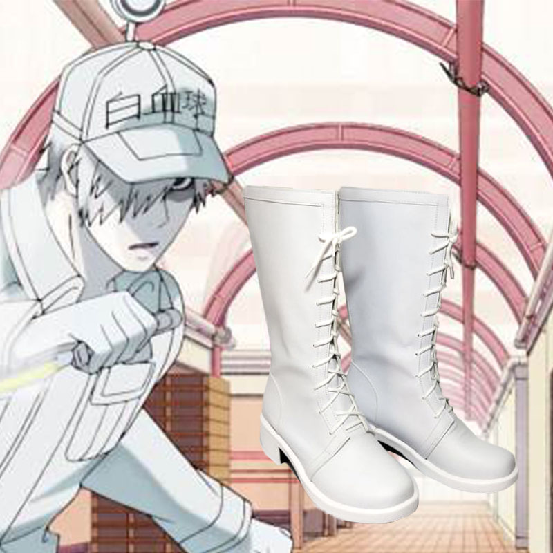 Cells At Work Cosplay Hataraku Saibou White Blood Cell Outfits Cap Full Set Cosplay fashion leisure cartoon PU leather shoes