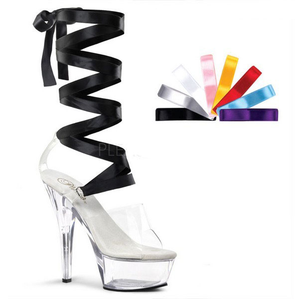 15cm Ultra High Heels Shoes Crystal Ribbon Platform Sandals 6 Inch Heel Interchangable Ribbon Laces Office & School Supplies Colour Ribbons Dance Shoes Without Return