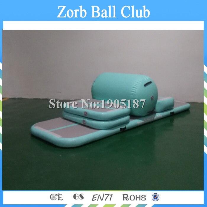 Livraison gratuite AirTrack Aqua menthe vert ensemble entier Air panneau bloc rouleau gonflable gymnastique Tumbling entraînement Air piste