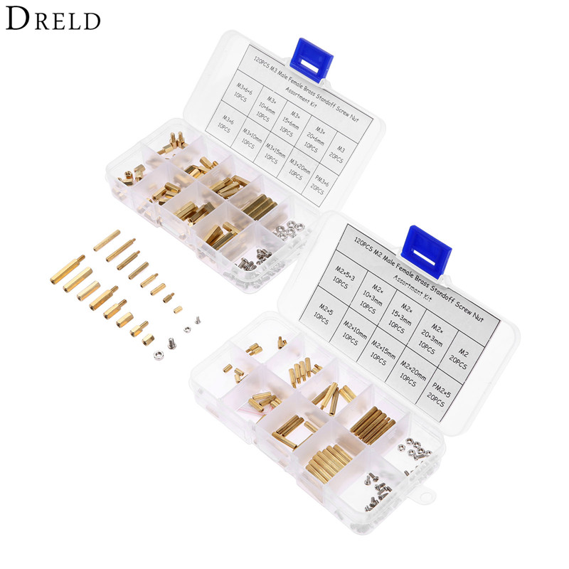 DRELD 240pcs M3 M2 Hex Male Female Thread Brass Spacer Standoffs/ Screw /Hex Nut Assortment set Kits with 2* Plastic Box m2 3 3 1pcs brass standoff 3mm spacer standard male female brass standoffs metric thread column high quality 1 piece sale