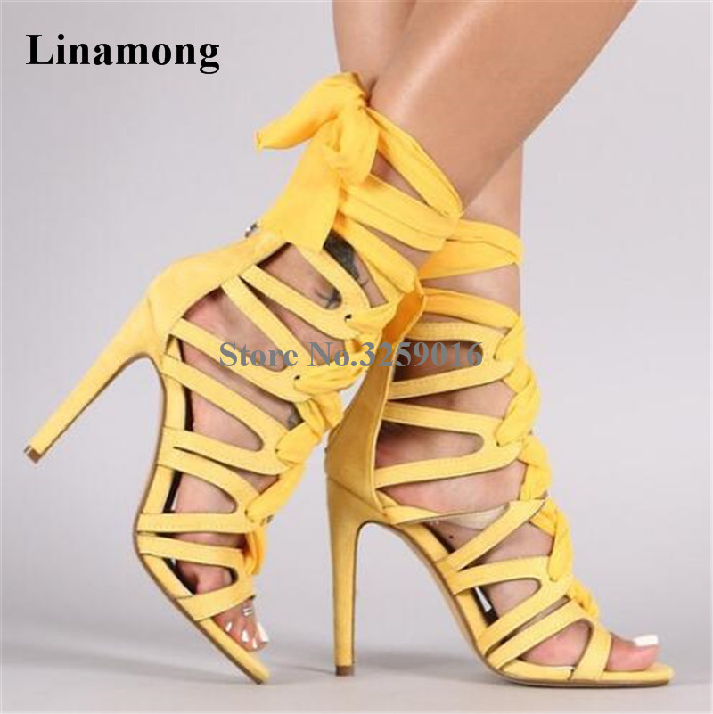 все цены на Newest Fashion Women Open Toe Suede Leather Lace-up Gladiator Sandals Strap Cross Yellow Black High Heel Sandals Dress Shoes
