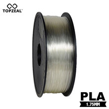 TOPZEAL Clear Transparent 3D Plastic Filament PLA 1.75mm 1KG Dimensional Accuracy +/- 0.02mm Printing Materials
