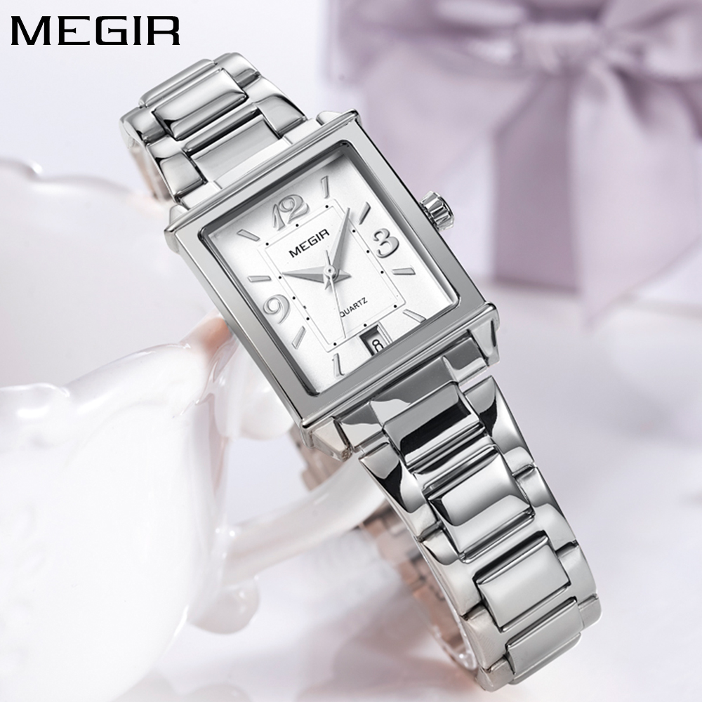 New Megir Brand Luxury Simple Style Silver Quartz Watches Women Clock Steel Rectangle Ladies Wrist Watch Women Relogio Feminino