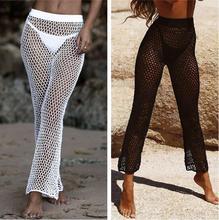 e980db951056b 2018 Summer New Elastic Bikini Cover Up Pants High Waist Long Flare Trousers  Swimming Bottoms Crochet