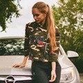 2016 Новое Прибытие Куртка Женщин Army Green Rose Печати Камуфляж Куртки Chaquetas Mujer Осень Женщины Куртки Пальто TS105