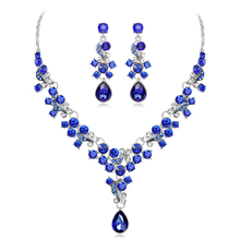 3 Colors Flowers Crystal Pendant Necklace Earrings Set Bridal Gown with Wedding Bridal Necklace Earrings Jewelry Sets for Women недорого