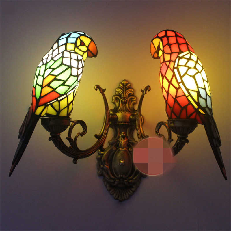 SGROW Stained Glass Parrot Wall Lamp 2 Heads Tiffany Led Lights Indoor Lighting Fixtures for Bedroom Creative Design Sconce Wall