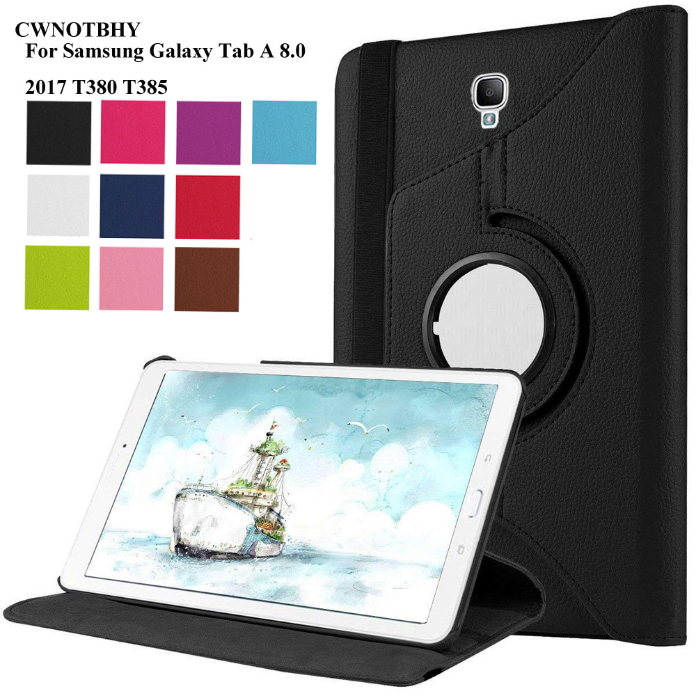 PU Leather Case for Samsung Galaxy Tab A 8.0 2017 Cover for SM-T380 SM-T385 T380 T385 8 Inch Tablet 360 Degree Rotating+Pen bluetooth wireless keyboard case for samsung galaxy tab a 8 0 t380 t385 pu leather stand cover detachable keypad protective case