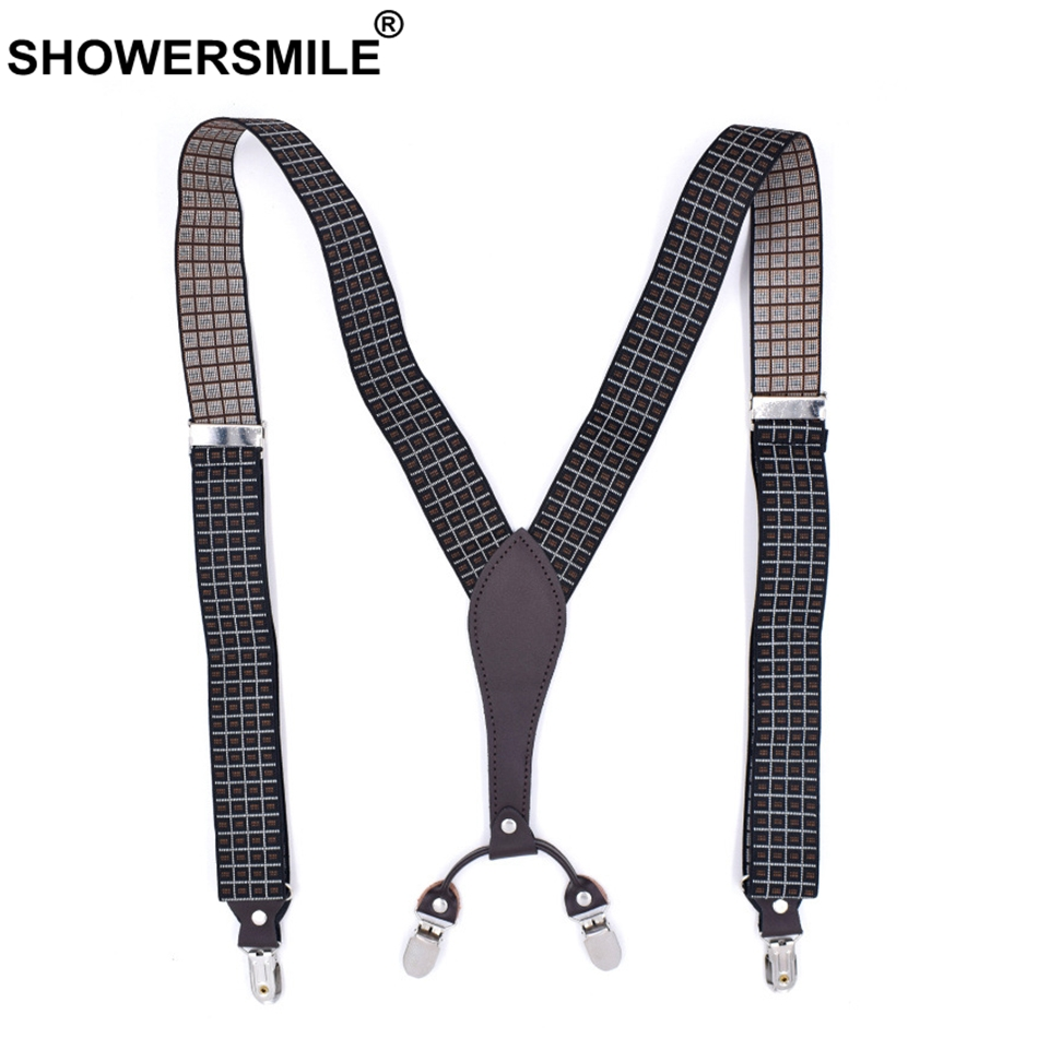 SHOWERSMILE Suspender Plaid Men Elastic Braces Suspenders Brown Y Back 4 Clips Suspenders Adjustable Casual Male Pants Straps