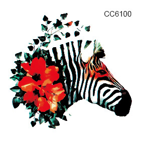 CC6100 6X6cm Little Cheapest Colorful Flower Zebra Head Temporary Tattoo Sticker Body Art Water Transfer Fake Taty For Face