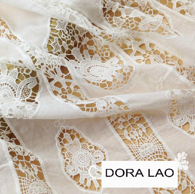 110cm wide white embroidered flower cutout cotton lace fabric for dress diy patchwork material