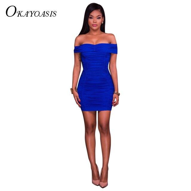 OKAYOASIS New Summer Fashion Ruching Body Mini Dress Sexy Club Wear Women  Dress Vestidos Off Shoulder Casual Dresses c14b010894d8
