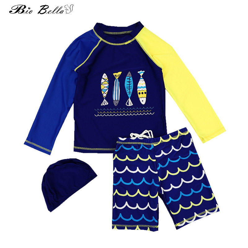 Kids Boys Swimwear Fashion Swimming Bathing Surfing Beathwear Swimsuit Set Tops+Pants+Cap 3Pcs Children Boys Swimwear Suit Kid