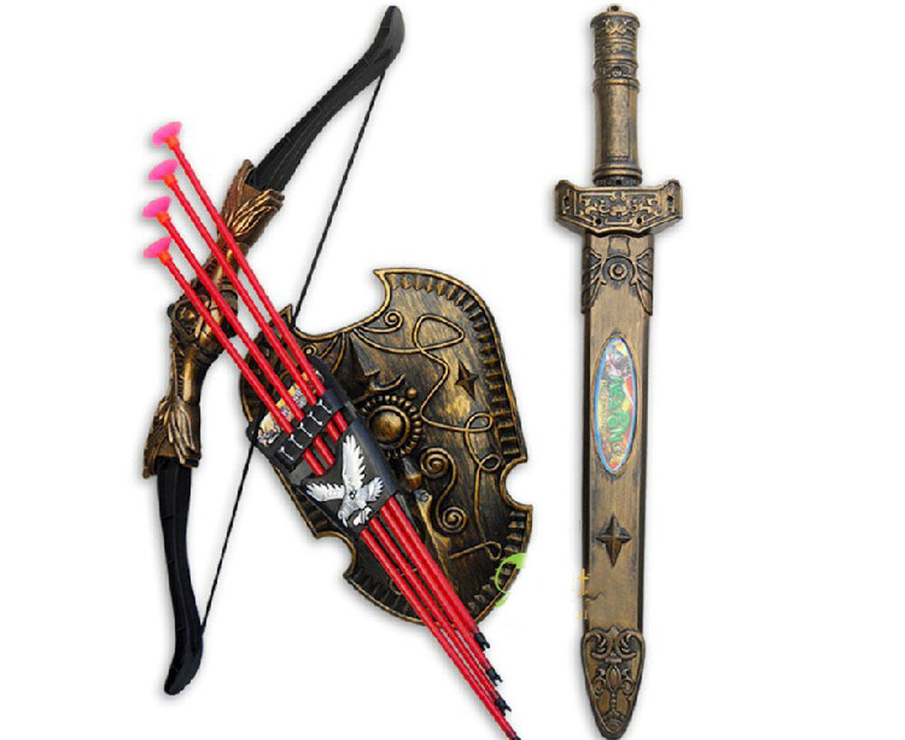 Kids Toys Swords Shiled Bow and ArrowSucker Simulation Archery Plastic SwordsToy Set Children Gift swords of glass