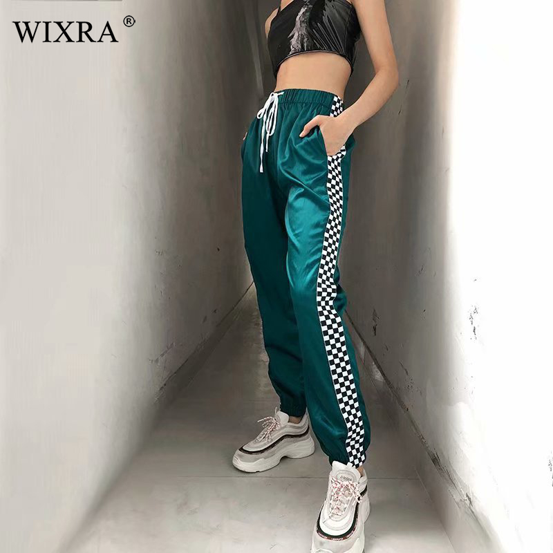 Wixra New Hot  Pencil Pants Women Fashion Elastic High Waist Plaid Checkboard Patchwork Casual Sweatpants Ankle-length Pants