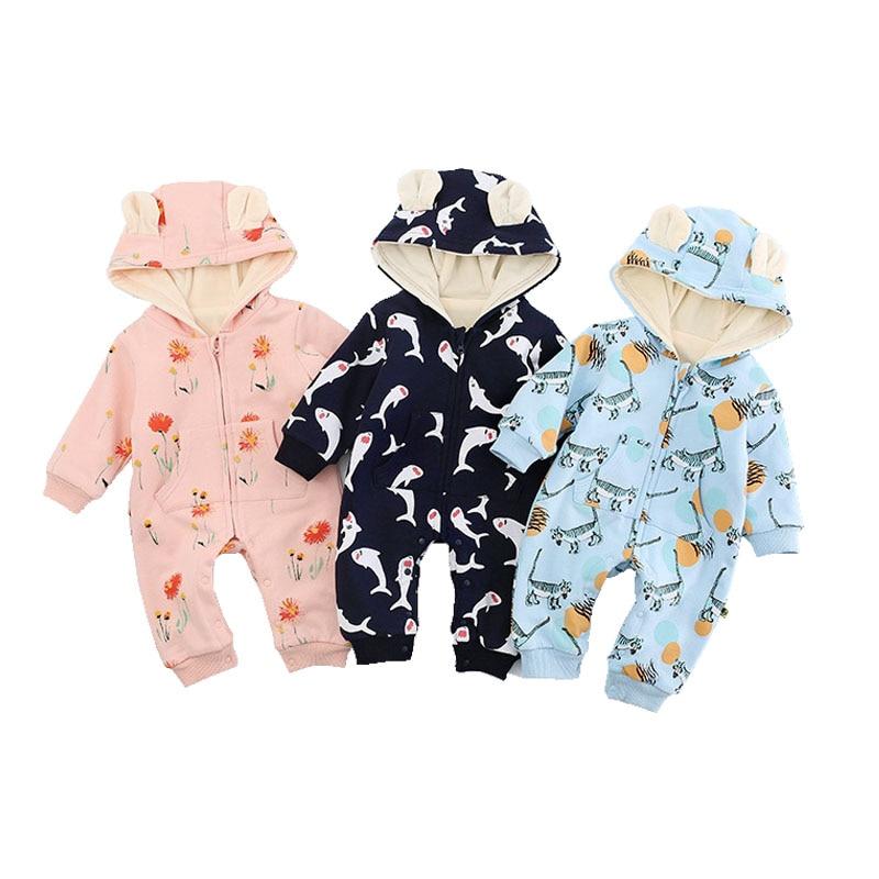 75171effcb03 New Born Baby Winter Clothes Cute Animal Hooded Romper Fleece ...