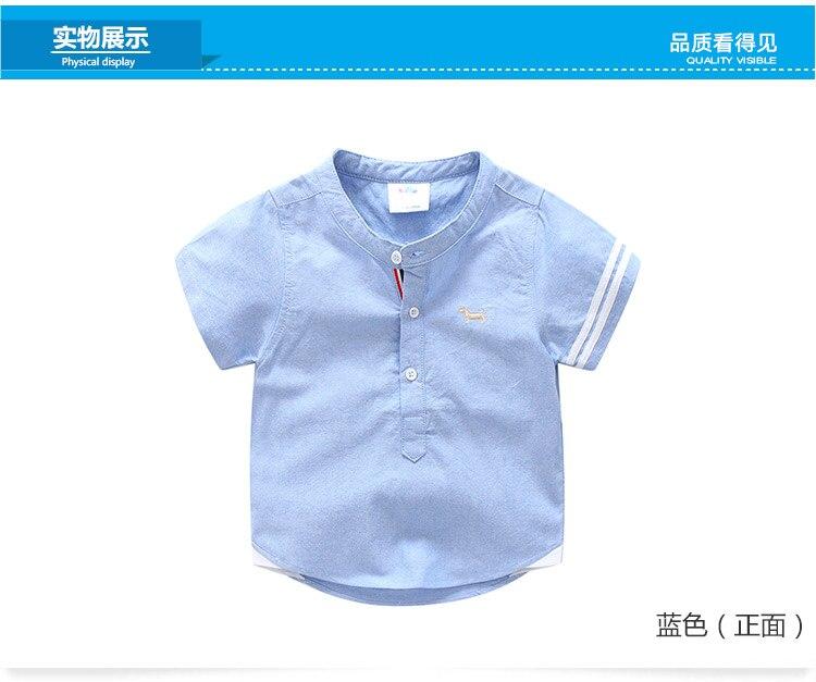 Kids Birthday Gift Clothes 2018 Summer Fashion Cotton White Blue Color Cartoon Dog Print Short Sleeve Mandarin Collar Boys Shirt (7)