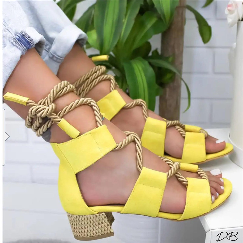 YELLOW Bohemian Women Sandals Mid Heel Pointed Fish Mouth Shoes Lace Up Platform Sandals