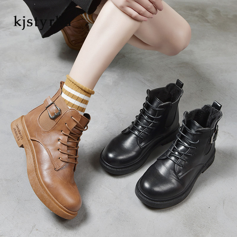 Kjstyrka round toe 2019 cotton fashion casual belt buckle patent leather martin boots female anti-slip ankle boots for women 1