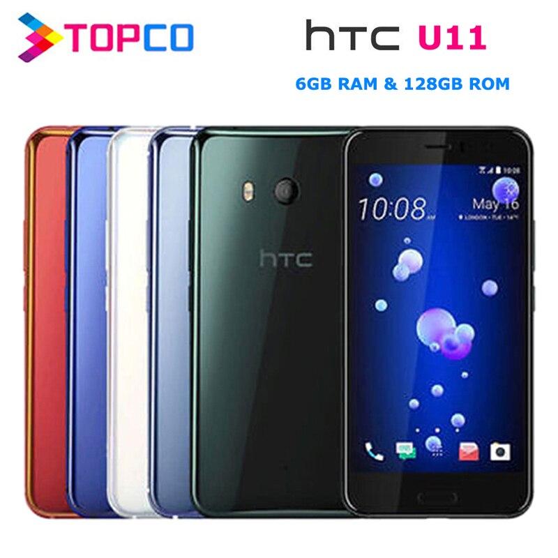 """HTC U11 podwójny 128GB oryginalny odblokowany GSM 3G i 4G telefon komórkowy z androidem octa core 5.5 """"12MP i 16MP 6GB pamięci RAM 128GB ROM linii papilarnych NFC"""