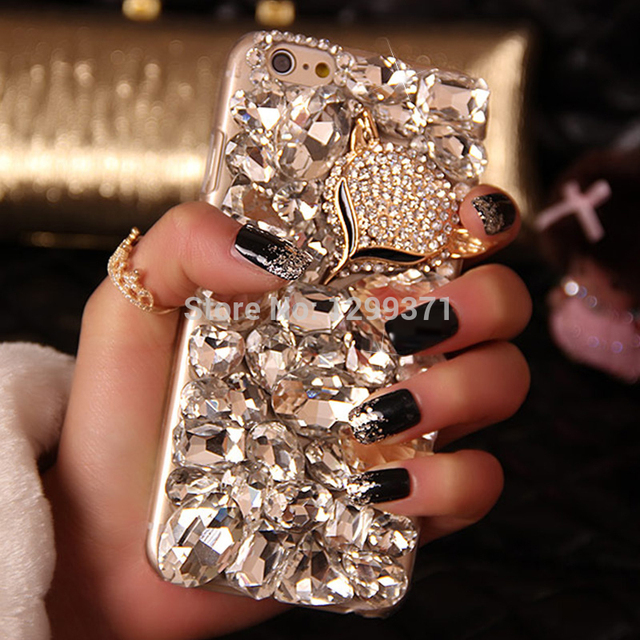 Bling fox cristal rhinestone caso de diamante para iphone 6 plus 5s 6 s samsung galaxy note 5 4 3 2 s7 s6 borda mais s7edge