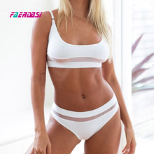 Solid mesh high waist bikini swimsuit high waisted mesh swimwear black halter swimsuit women push up bikini set Maillot de bain high neck mesh panel bikini set