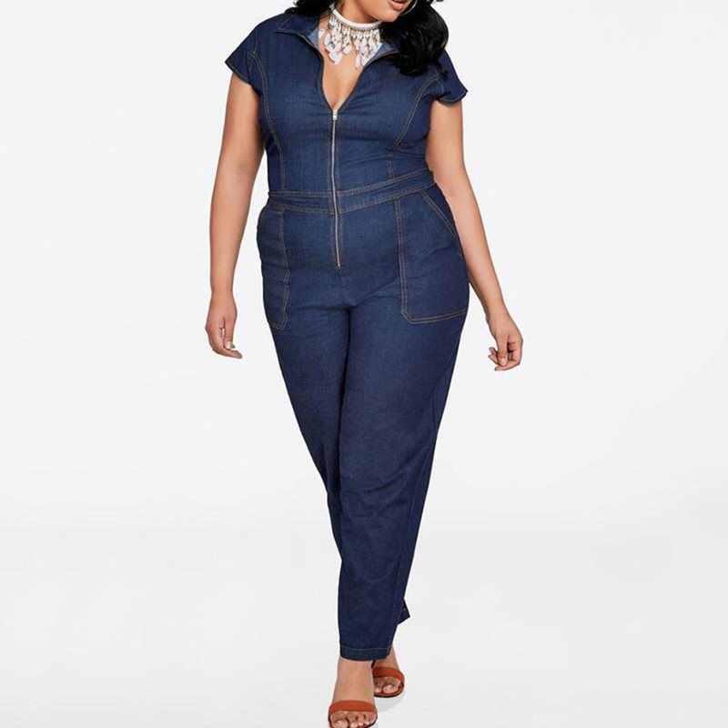 Женский Летний джинсовый комбинезон больших размеров с коротким рукавом 2019 ретро повседневный комбинезон тонкий на молнии карманы модные уличные длинные Комбинезоны